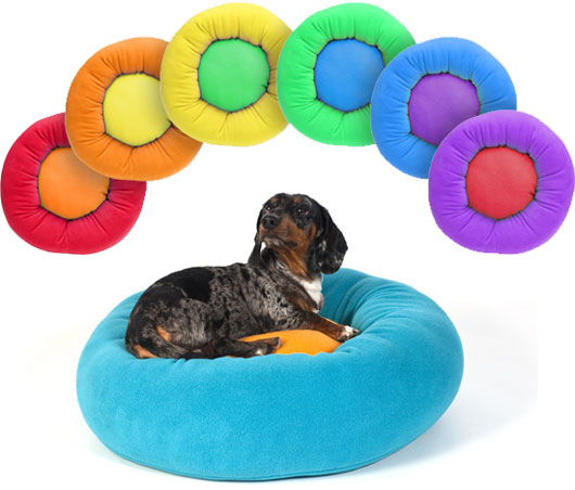 Rainbow Of Cozy Puff Dog Beds